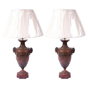 Pair of Early 19th Century French Empire Neoclassical Bronze Urns, Wired as Lamps