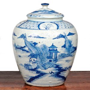 Large Chinese Late Qing Blue and White Porcelain Vase with Lid