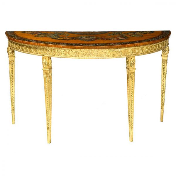 18th Century Irish Painted Demilune Table on Gilt Base, Attributed to William Moore