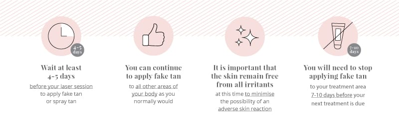 Fake tan is not recommended directly after laser hair removal